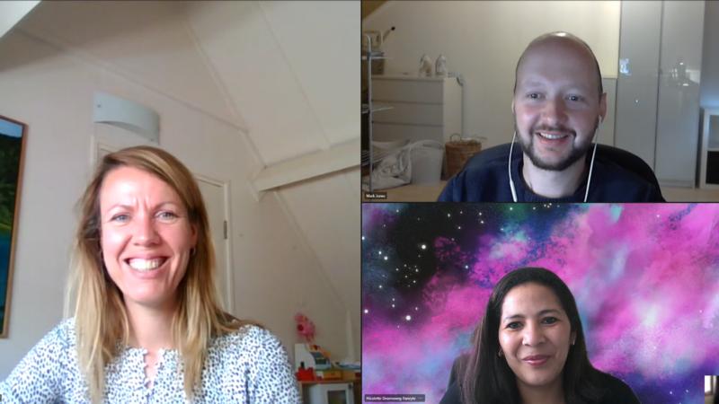 Deelnemers online spelleider training 13-04-2021: Hanneke, Mark, Nicolette